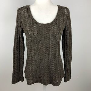 J Jill  Brown Crochet Knit Pullover Sweater XS